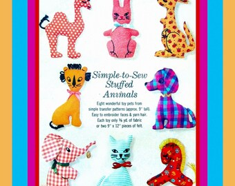 Vintage 1964-Adorabile & Whimsical Collection of Stuffed Animals-Kangaroo-Rabbit- Kitty-Puppy-Elephant-Horse Camel-Lion-Sewing Pattern