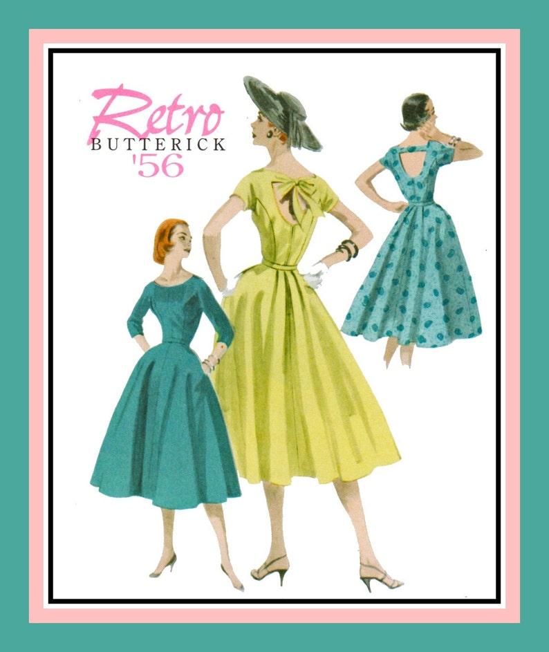 8cca3c92addb Retro 1956-TWIRL DRESS-Sewing Pattern-Three Styles-Surprise | Etsy