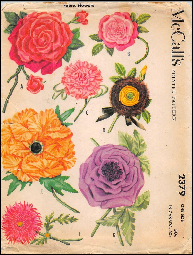 FABRIC FLOWERS-Original Sewing Pattern-Seven Beautiful Styles-Roses-Carnations-Dahlias-Poppy-Aster-Mega Rare-Collectible Vintage 1959