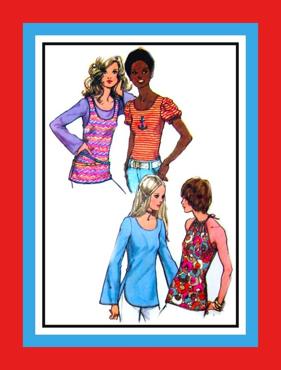 5e1bb4092abbb Vintage 1972 Collection of Tops Sewing Pattern Halter