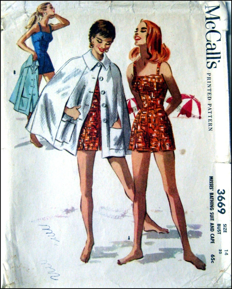 457bc2eb15320 Vintage 1956-BOMBSHELL BATHING SUIT-Sewing Pattern-Empire | Etsy