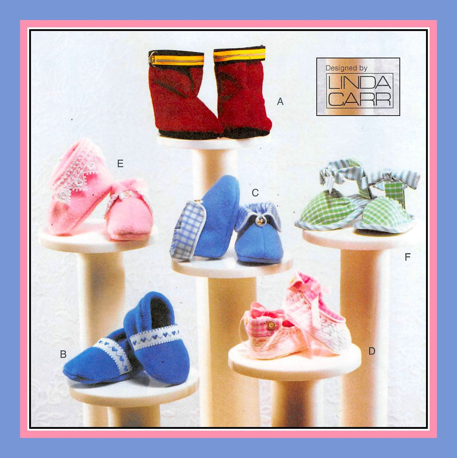 designer baby booties-vogue sewing pattern-six styles-ballet slipper-cuffed booties-sandal-fireman boots-uncut-size newborn-9 mo