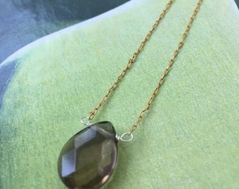 fcff49bdaa1f15 Ombre: faceted smokey topaz; topaz teardrop pendant; gold chain; mexican  fire opals; topaz jewlery; necklace