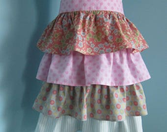 Womens Tiered Ruffled Half Apron
