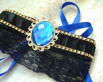 Victorian style Choker - Black Lace and Leather/ Royal Blue Gemstone