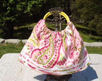 Handmade slouchy purse/ pink paisley with vintage yellow handles/SALE