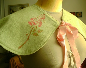 Floral capelet, Reversible/Hand-dyed pistachio fabric/hand stenciled Rose