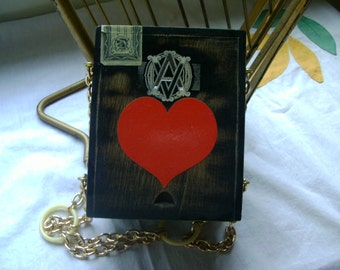 Retro Cigar box Purse with Red Heart