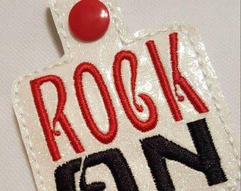 Rock On Rock On Key Chain Rock 'n Roll Keychain Keep it Up You Go Keychain