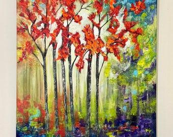 "Art Painting, Abstract,Original, Handmade Art, Acrylic Modern ""Red Trees(5)"" texture  30""W x 40""H  ArtbyMaite"