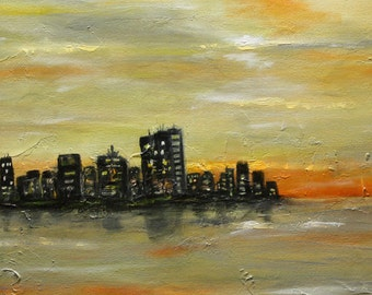 """Original Art  Textured  Abstract Acrylic Painting """"City""""  30"""" x 20"""" - By Maite Tobon"""