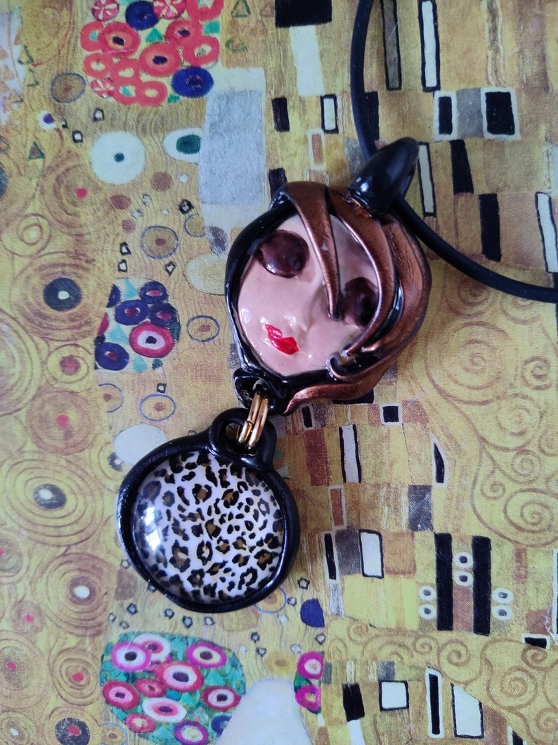Leopard skin Moon face necklace Art to wear handmade jewelry serenity pretty face Peace artistic Pendant Necklace Black gold