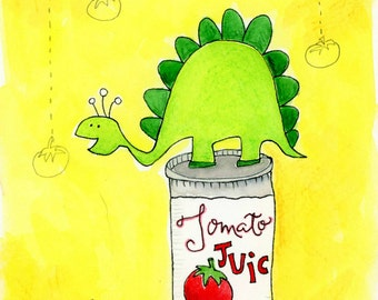 Dino Dinner - wee dinosaur on tomato juice can - original watercolor painting matted in white 8x10 wood frame