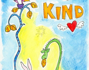 Be Kind - original watercolor painting in 8x10 wood frame with cute animals: giraffe, bunny rabbit, bee, and bird