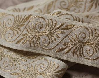 """3 yards of 1 1/2"""" wide damask gold and cream ribbon"""