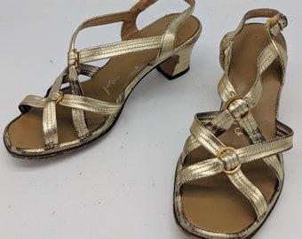 e08e5a826027f 70s gold sandals | Etsy