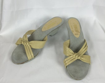bb52d46cf1a9 Yellow strap low wedge sandals sz 6