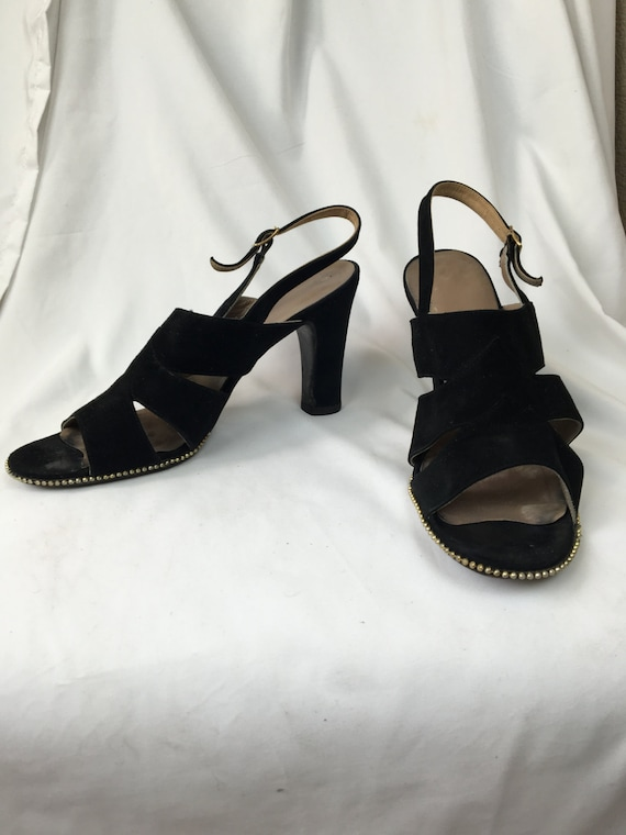 1940's Black Suede Sandals sz 7/7.5