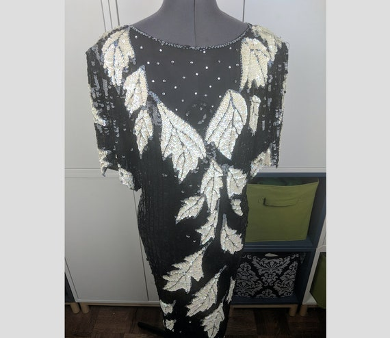 1970's Heavy Beaded Gown sz L