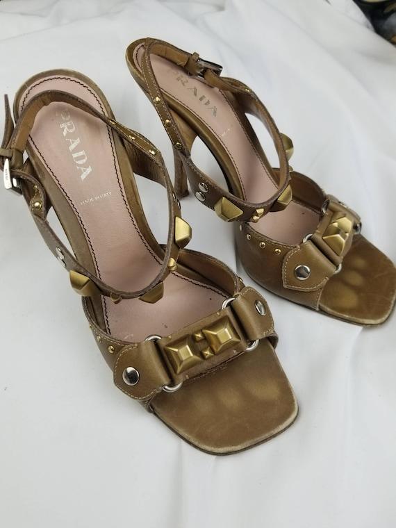 1990's Prada Studded Leather Heeled Sandals sz 7.… - image 2