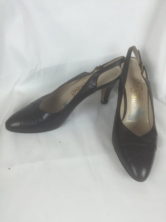1970's Salvatore Ferragamo Leather Slingback Pumps