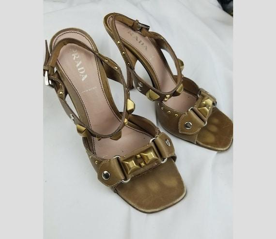 1990's Prada Studded Leather Heeled Sandals sz 7.… - image 1