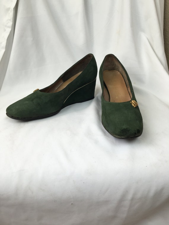 1940's Green Suede Wedges sz 7