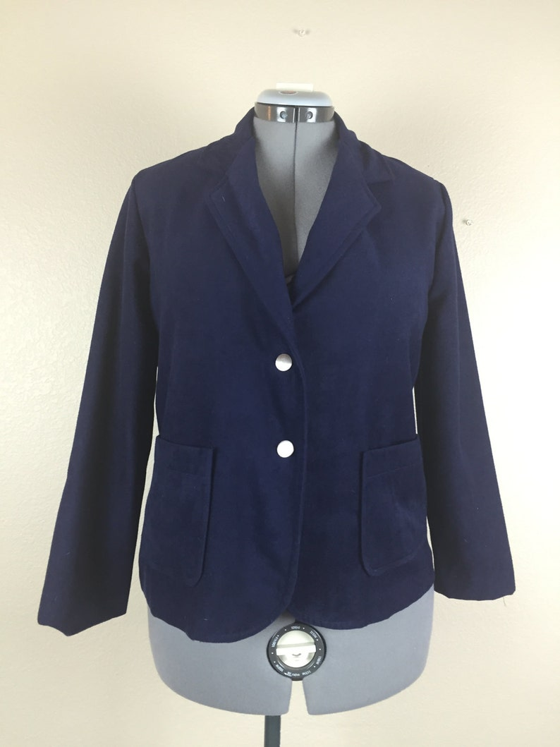 Vintage navy blue velveteen blazer sz 1214