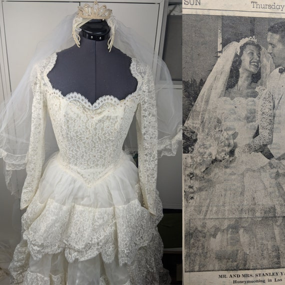 RARE 1950's Wedding Gown & Accessories sz S/M