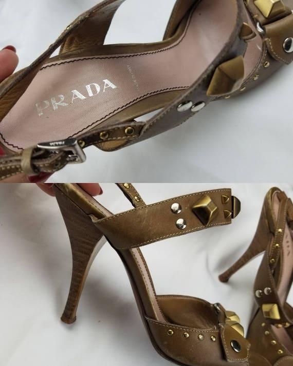 1990's Prada Studded Leather Heeled Sandals sz 7.… - image 3