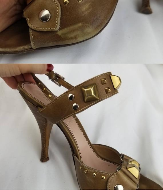 1990's Prada Studded Leather Heeled Sandals sz 7.… - image 6