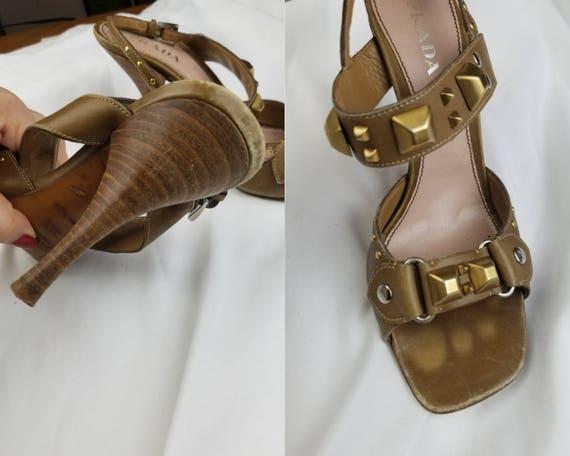 1990's Prada Studded Leather Heeled Sandals sz 7.… - image 5