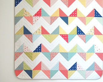 PDF Sunny Chevron Quilt Pattern for both a Throw & Queen Size Quilt this is a PDF for digital download