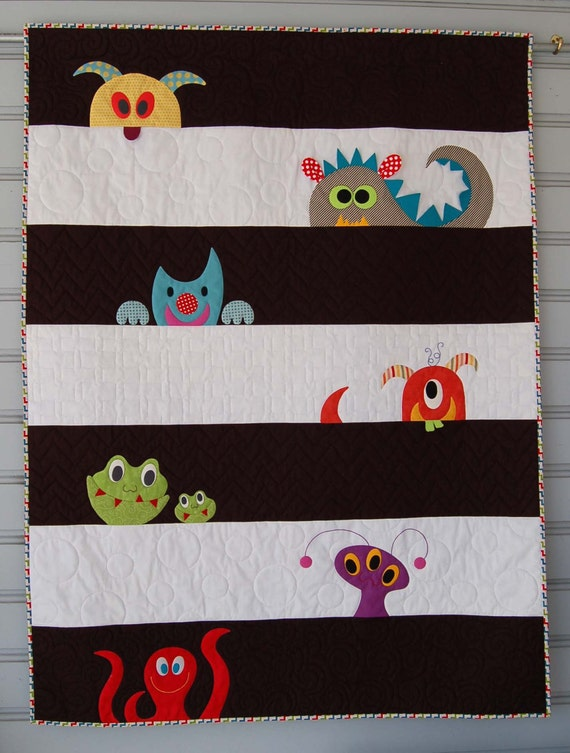 Pdf M Is For Monster Quilt Pattern In A Pdf For Digital Etsy