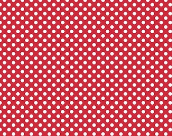 Red with White Small Polka Dots from Riley Blake