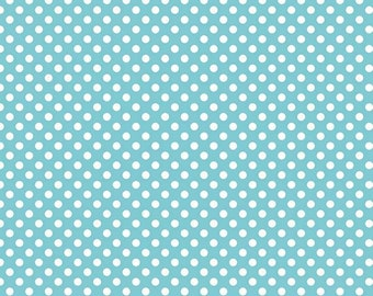 Aqua with White Small Polka Dots from Riley Blake