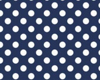Navy with White Medium Polka Dots for Riley Blake