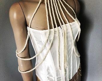 e47839d5e8edf Bride Ivory pearl choker body jewelry shoulder chain necklace bridal wedding