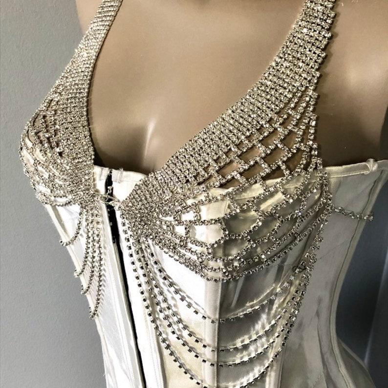 31acbb01fa Crystal bra lingerie rhinestone body chain check swag