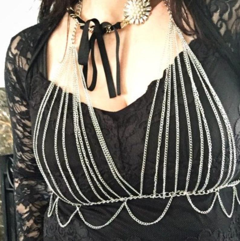 ebc52967b1 Festival silver metal chain bra halter top loop swap body