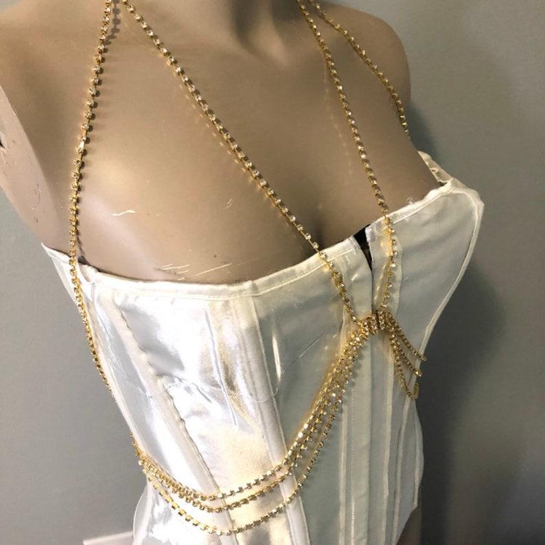 54b9fd02fb Gold rhinestone bra open cup halter body jewelry crystal chain