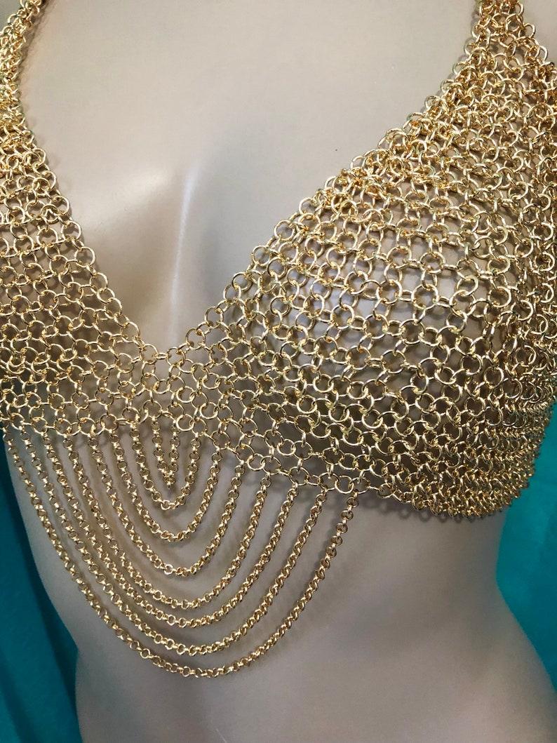 bf814afeb7 Gold chain bra lingerie bralette halter top loop swag festival