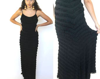 out all night -- vintage 1920s killer long fringe gown XS/S