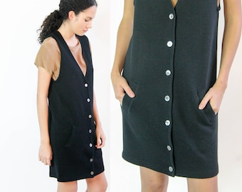 easy classic -- vintage 80s/90s black merino wool day dress size S