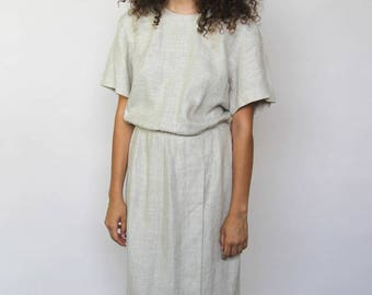 modern love -- vintage 80s/90s Maggie London natural linen dress M/L