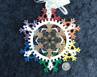 Steampunk Pride Rainbow Jumbo Ornament - Gears and Many Snowflakes - 6-inch