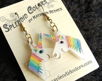 Unicorn Drop Earrings in Pearl Acrylic with Handpainted Details and Swarovski Eye