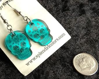 Sugar Skull Calavera Medium Drop Earring in Laser-Etched Mirror Acrylic