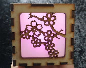 Sakura Cherry Blossom 3-inch laser cut cube kit with translucent film and pink LED