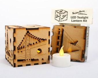 San Francisco Laser-Cut 3-inch Cube Lantern with Golden Gate Bridge, Bay Bridge, Chinatown, Cable Car, Ferry Building, Coit Tower